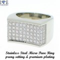 WHOLESALE STAINLESS STEEL CNC PRONG SETTING RING WITH GENUINE CLEAR CZ.  www.directsilverfactory.com its your direct source for wholesale hip hop watches, wholesale sterling silver jewelry, wholesale stainless steel jewelry, wholesale hip hop jewelry and much more