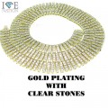 4 ROW NECKLACE GOLD PLATING WITH CLEAR STONES
