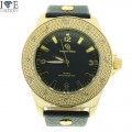 MENS HIP HOP DESIGNER ELEGANT PAVE LOOK EYE CATCHING DIAL WATCH WITH PREMIUM LEATHER BAND BY CAPTAIN BLING.