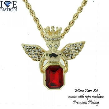 MICRO PAVE RUBY PENDANT WITH ROPE NECKLACE PREMIUM QUALITY