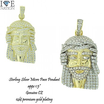 STERLING SILVER MICRO PAVE  PENDANT WIH GENUINE CZ & PREMIUM GOLD PLATING
