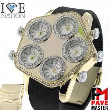 "MULTI WATCH  WITH PREMIUM SILICONE 8.5 "" BAND PAVE STONES ON EVERY ROUND BEZEL PLUS ON EDGES PREMIUM QUALITY SHINY STONES, SAFETY BUKLE WITH LATCH MAKE ITS LOOK VERY EXPENSIVE LOOK, VERY EASY TO ADJUST TO MAKE IT SMALLER ITS LIKE MAKING CUSTOM BAND FOR YOUR CUSTOMER, MAKE YOUR CUSTOMER FEELS SPECIAL"