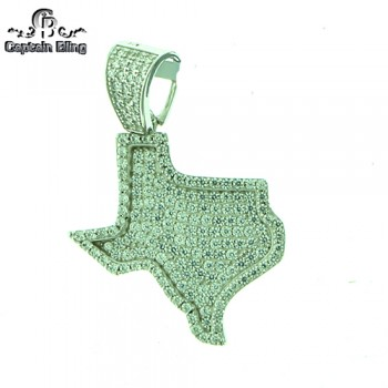 STERLING SILVER MICRO PAVE CZ PENDANT  APPX  1.5 INCHES