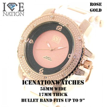 Mens hip hop Iced Out Ice Nation Watches, inside the dial pave look eye catching Swiss Design Dial watch and premium quality bullet band,