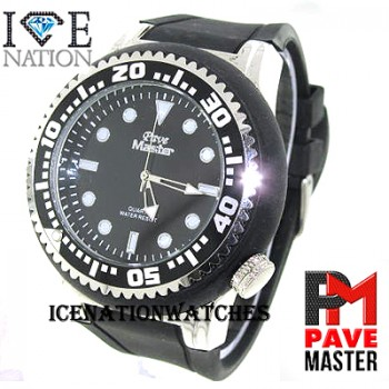 Mens hip hop designer Full Stone Bezel inside the dial look pave eye catching Swiss Sports Design Dial watch and premium quality bullet band, Dimensions are 55mm wide and 20mm thick..