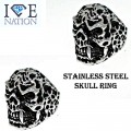 STAINLESS STEEL BIKER STYLE SKULL RING