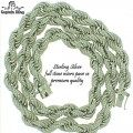 "0.925 STERLING SILVER RHODIUM FINISH FULL CZ ROPE NECKLACE  10MM  9"" X 46 GRM  24"" X 117 GRM  PREMIUM QUALITY"