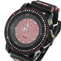3 row watch with channel set stones setting nice quality stones with silicone bullet band which makes watch look very expensive