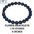Flower Bracelets with simiulated stones is appx 9 inches with very nice and shiny stones appx 176 Stones