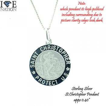"""STERLING SILVER ST.CHRISTOPHER PENDANT COMES WITH 20"""" BOX NECKLACE (012),"""