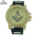 MENS HIP HOP DESIGNER ELEGANT PAVE LOOK EYE CATCHING DIAL MASONIC WATCH WITH BULLET BAND
