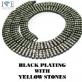 4 ROW NECKLACE BLACK PLATING WITH YELLOW STONES
