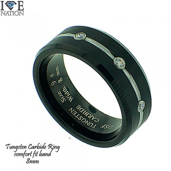 TUNGSTEN CARBIDE RING, 8MM COMFORT FIT BAND