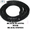 4 ROW NECKLACE BLACK PLATING WITH BLACK STONES