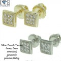 MICRO PAVE CZ EARRING WITH SCREWBACK, PREMIUM PLATING.