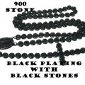 FLOWER ROSARY WITH BLACK STONES