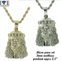 Micro pave pendants are made of casting with high quality stone, finished a thick layer of rhodium,gold  and gun metal with extra shine each piece looks and feels like genuine diamond and appx 2 inches long with rope chain
