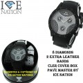 8 DIAMONDS MENS HIP HOP BULLET BAND WATCH PAVE MASTER BY ICE NATION COMES WITH 2 EXTRA LEATHER BAND WITH BOX