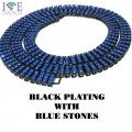 3 ROW BLACK WITH BLUE STONES