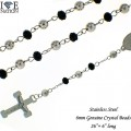 "STAINLESS STEEL 6MM BEAD WITH GENUINE CRYSTAL  BEADS 26""+ 6 "" LONG"