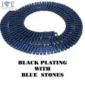 4 ROW NECKLACE BLACK PLATING WITH BLUE STONES