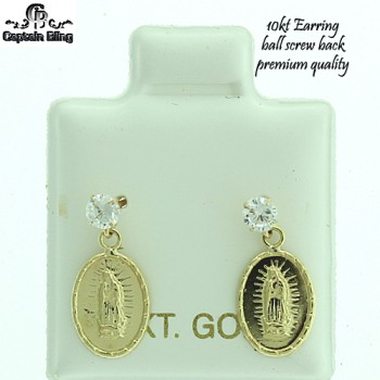 10KT GOLD EARRING WITH BALL SCREW BACK