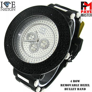 Men's Hip Hop Style 4 Row Watch with removeable bezel with premium plating and premium bullet band.
