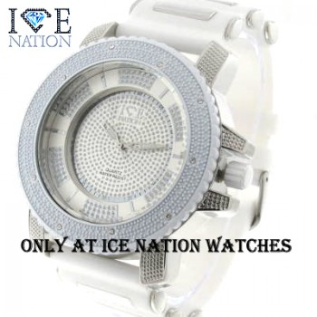 Mens hip hop designer Full Stone Bezel inside the dial look pave eye catching Swiss Design Dial watch and premium quality bullet band, Dimensions are 55mm wide and 16mm thick..