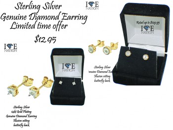 Sterling Silver Diamond (promotional) Earring 01.pt on each , pair comes with 02.pt diamond , Illusion setting to look more shiner and bigger comes with comes and retail tag $129.95, with butter fly back  while supplies last, Limited time offer
