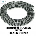 4 ROW NECKLACE RHODIUM WITH BLACK STONES